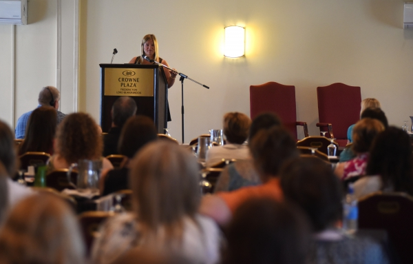 NBU President Susie Proulx-Daigle speaks to members during a recent conference.